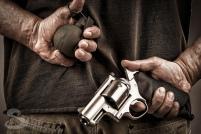 revolver hand grenade behind the back