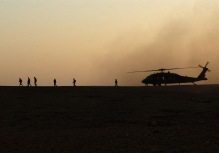 Iraqi Freedom helicopter dust storm sunset
