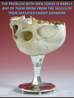 The problem with men today is barely any of them drink from the skulls of their defeated enemy anymore meme