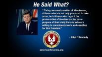 JFK quote regarding minutemen