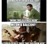 sniper's view from balcony meme