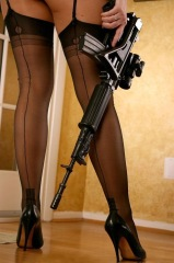 Girls With Guns: Thigh Highs with FN FNC Rifle