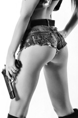Girls With Guns: Sexy Short Shorts Girl With Pistol