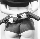 Girls With Guns: Sexy Boy Shorts With Twin Glocks
