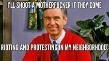 Mr Fred Rogers Shoot A Rioter In His Neighborhood