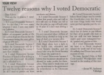 Twelve Reasons That I Voted Democrat