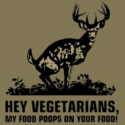 Hey vegetarians, my food poops on your food.