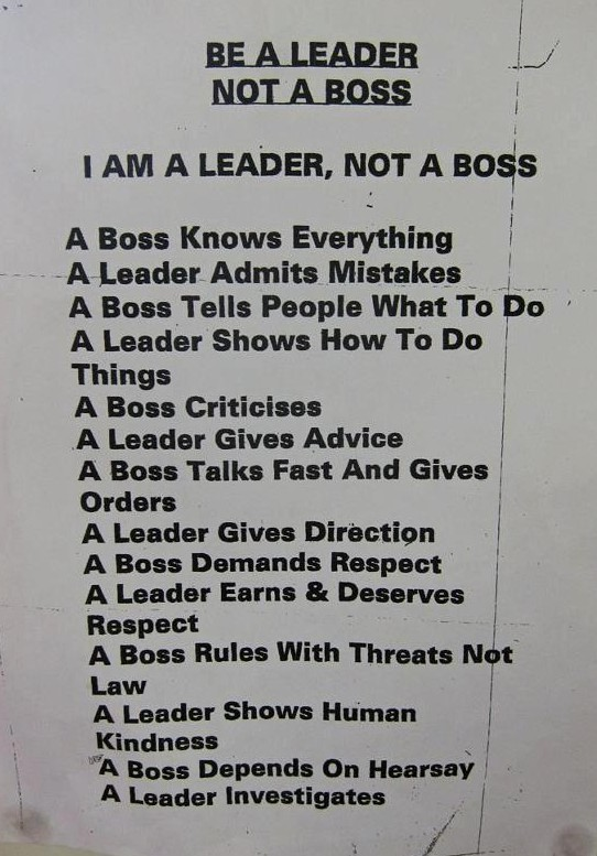be a leader, not a boss