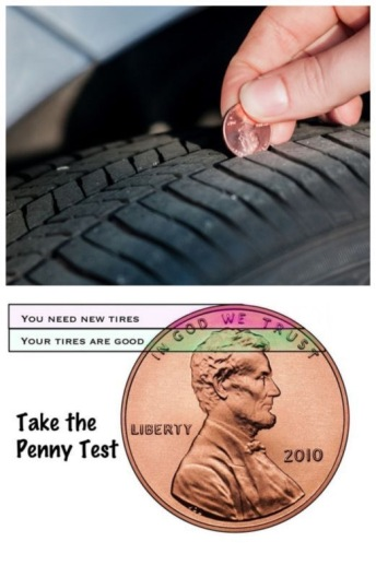 how to use a penny to test tire tread