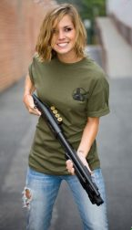 Girl With Mossberg 500 Pistol Grip Shotgun