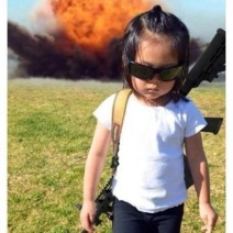 Little Girl blowing up shit